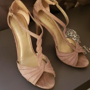 Taupe T-strap heels